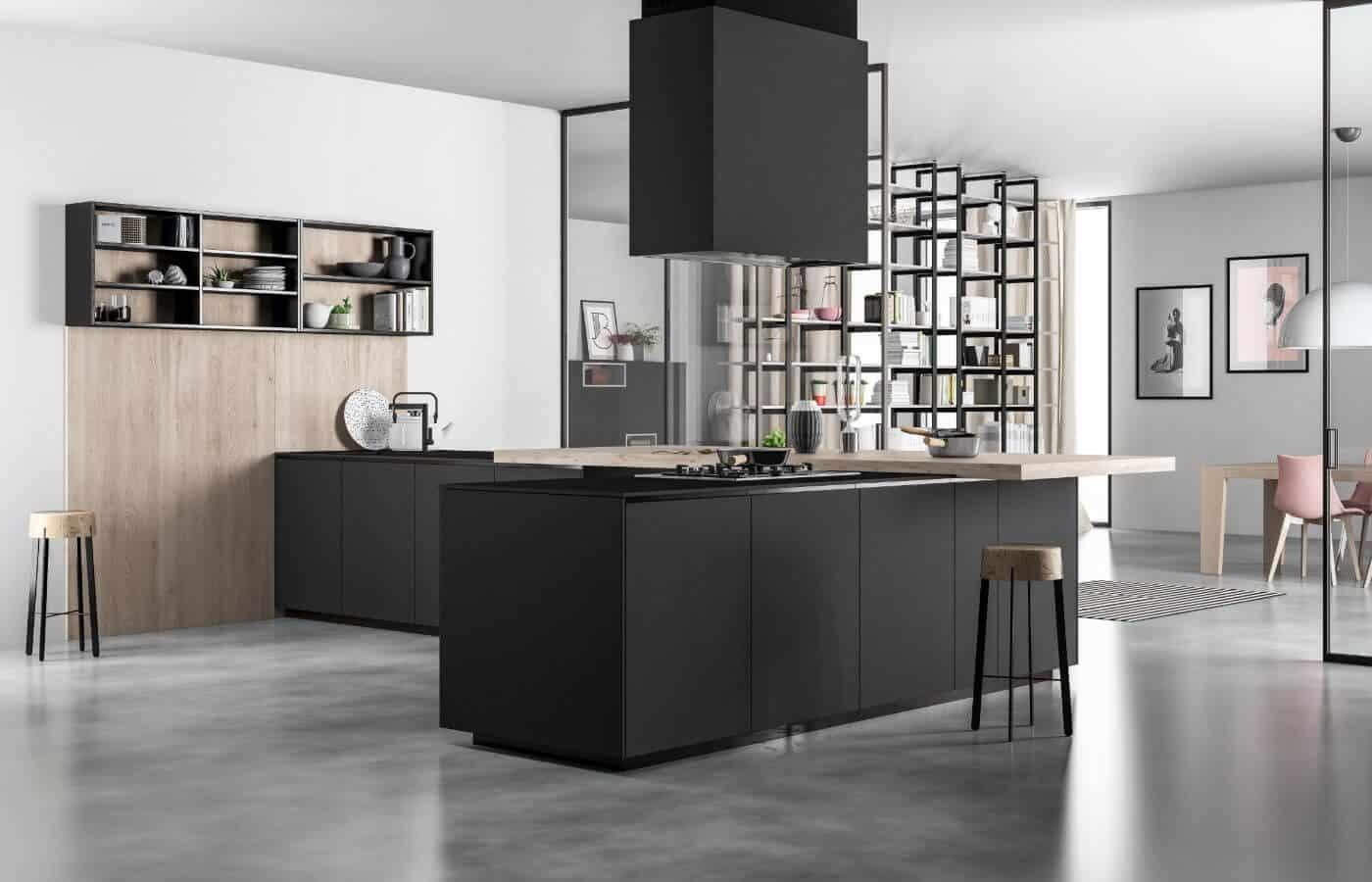 cucina-piano-snack-legno-sgabelli-collezione-quebec-il-mobile